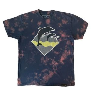 Pink Dolphin Graphic Tie-Dye T-Shirt Mens M